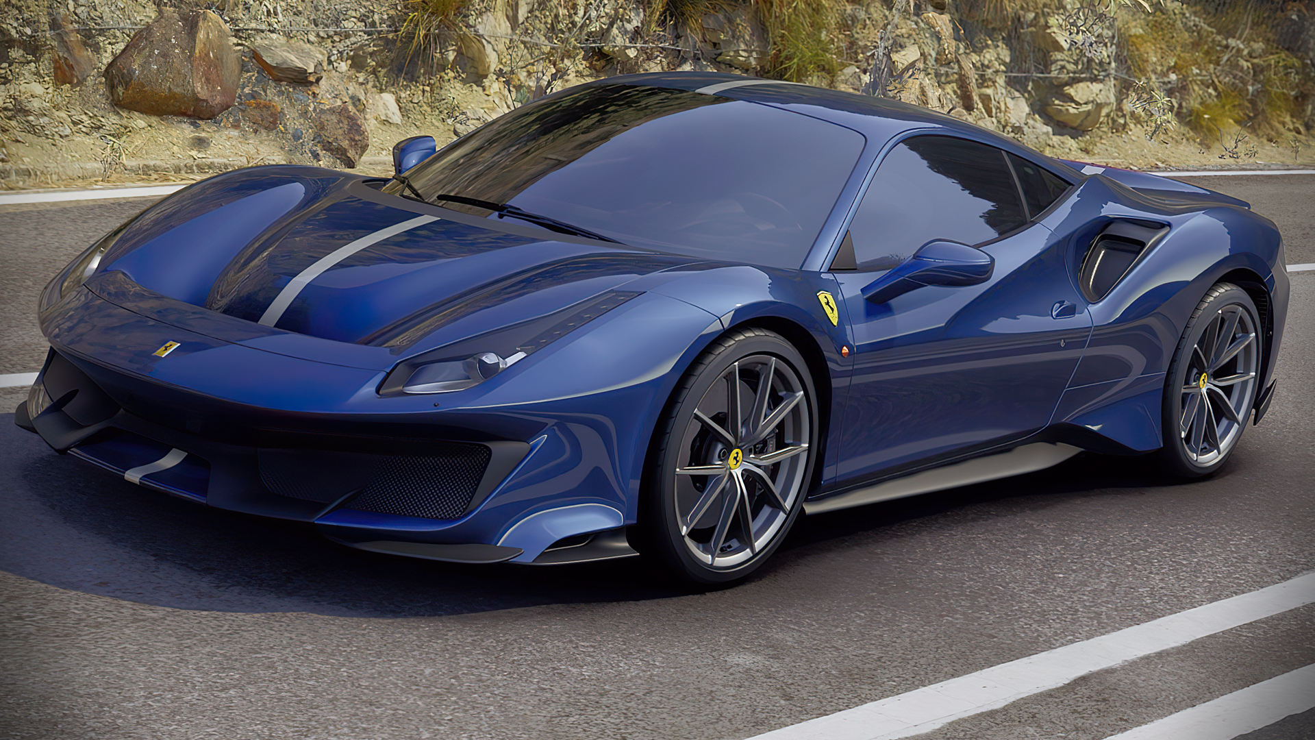 Ferrari 488 Pista Blue Wallpaper