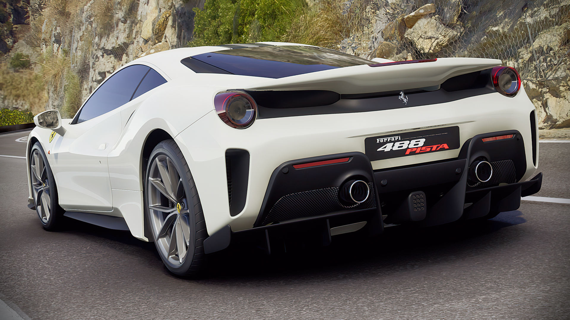Ferrari 488 Pista White Wallpaper