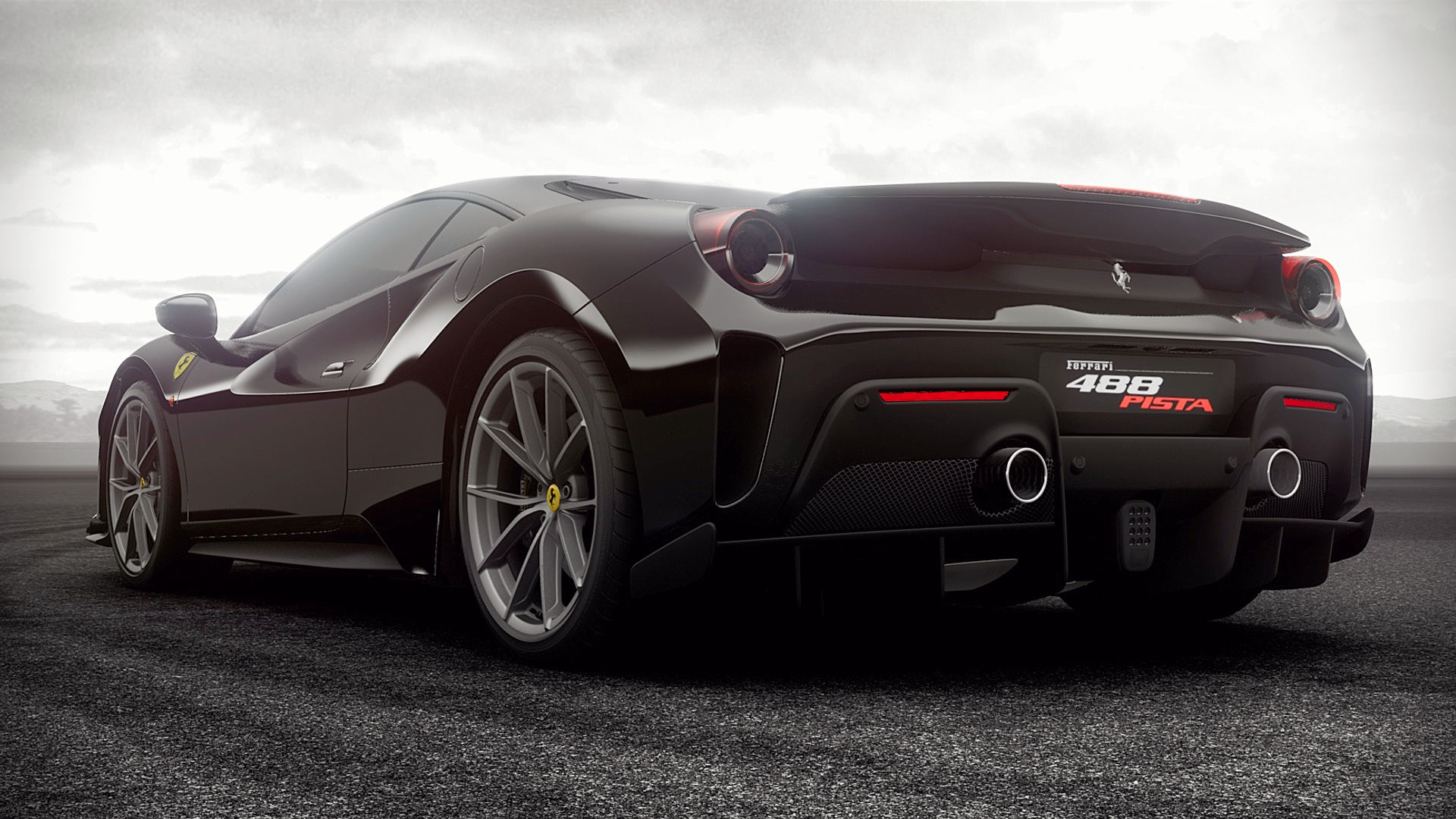 2019 Ferrari 488 Pista Black Wallpaper