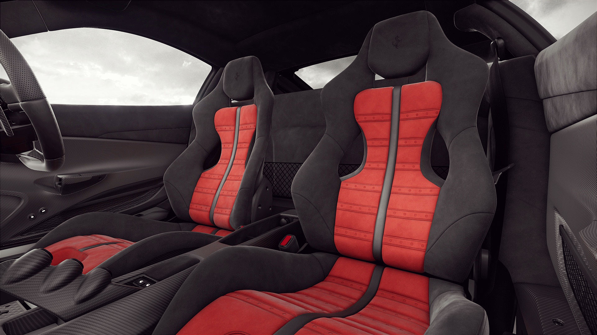 Ferrari 488 Pista Interior Red Inside Seats Wallpaper