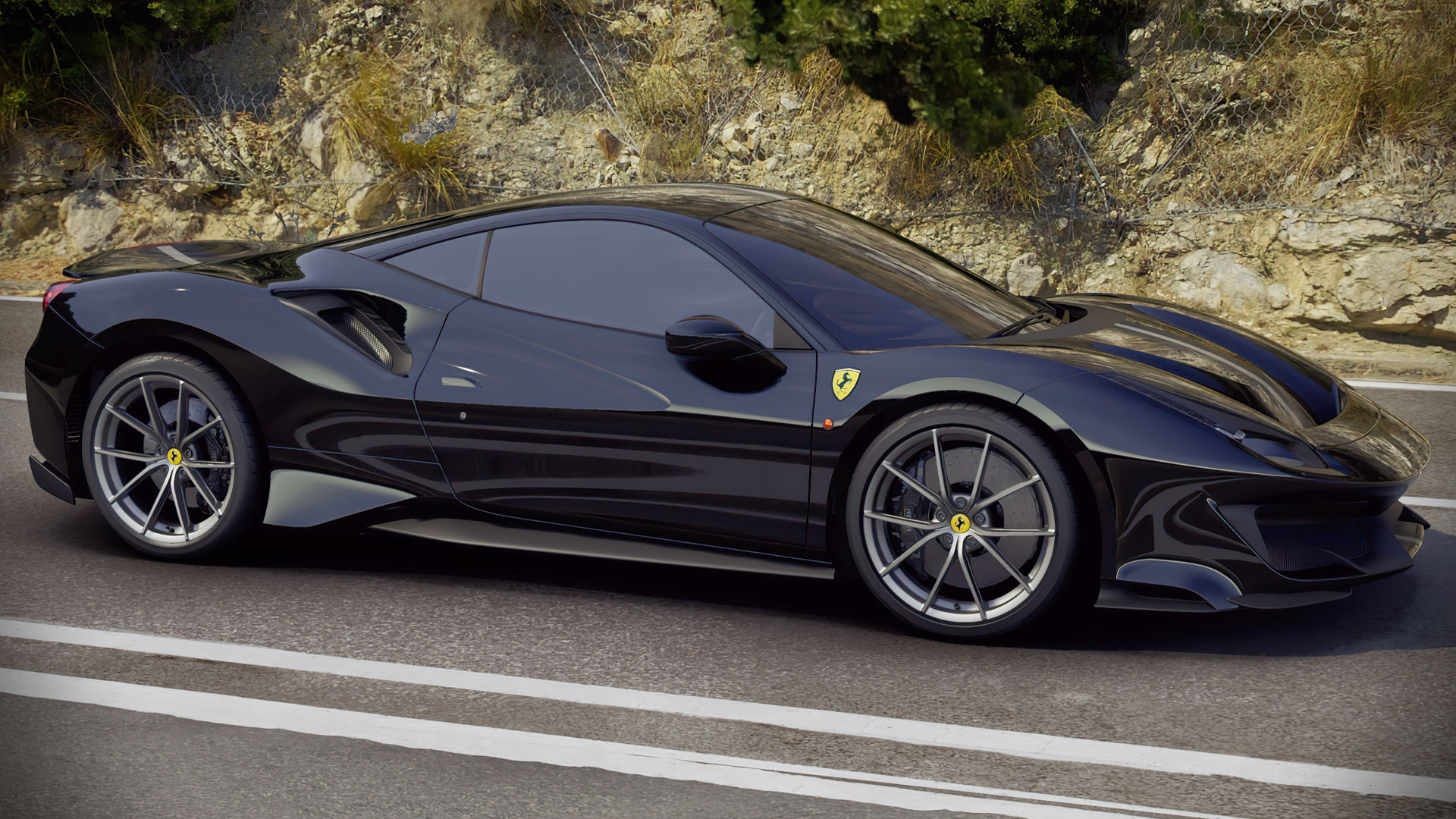 Ferrari 488 Pista 2019 Black Wallpaper Hd