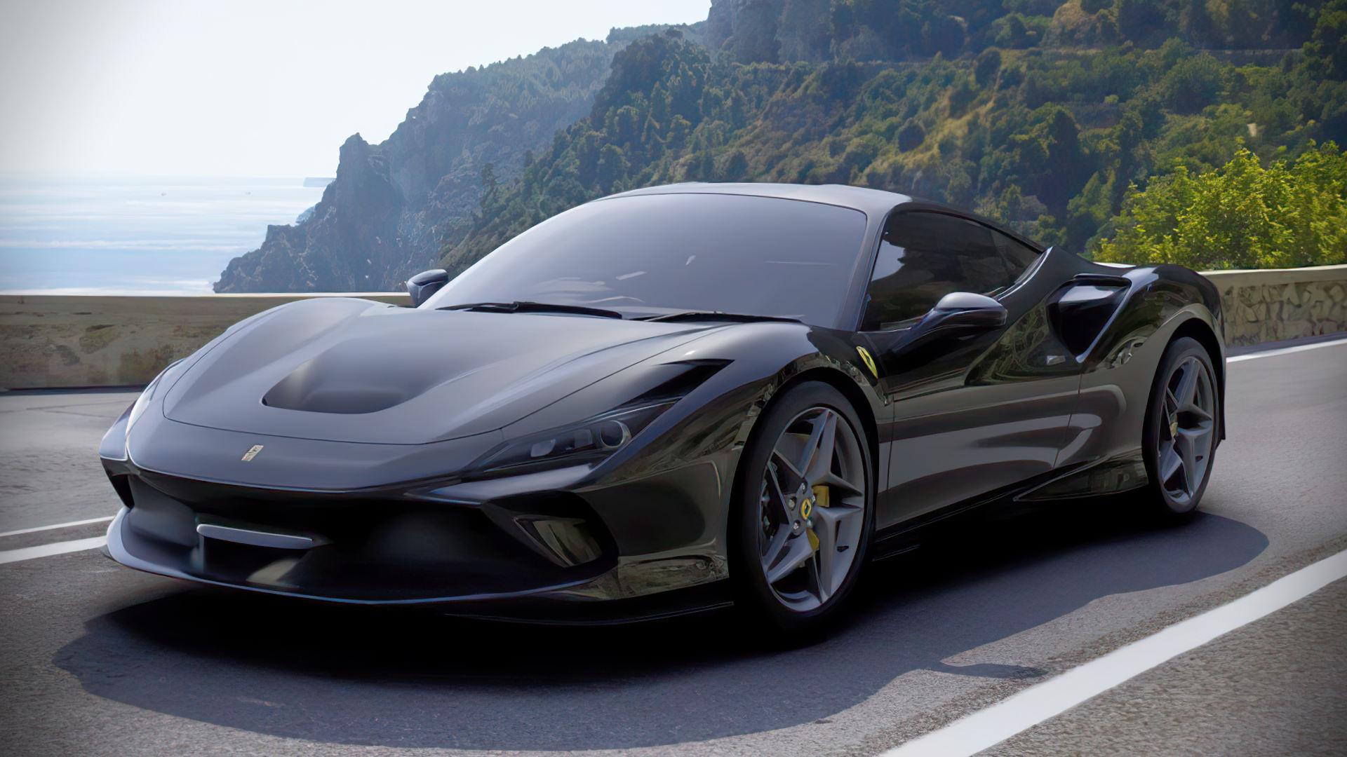2020 Ferrari F8 Tributo Black Wallpaper