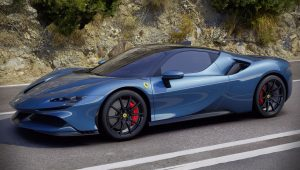 Ferrari SF90 Stradale Blue Colour Wallpaper