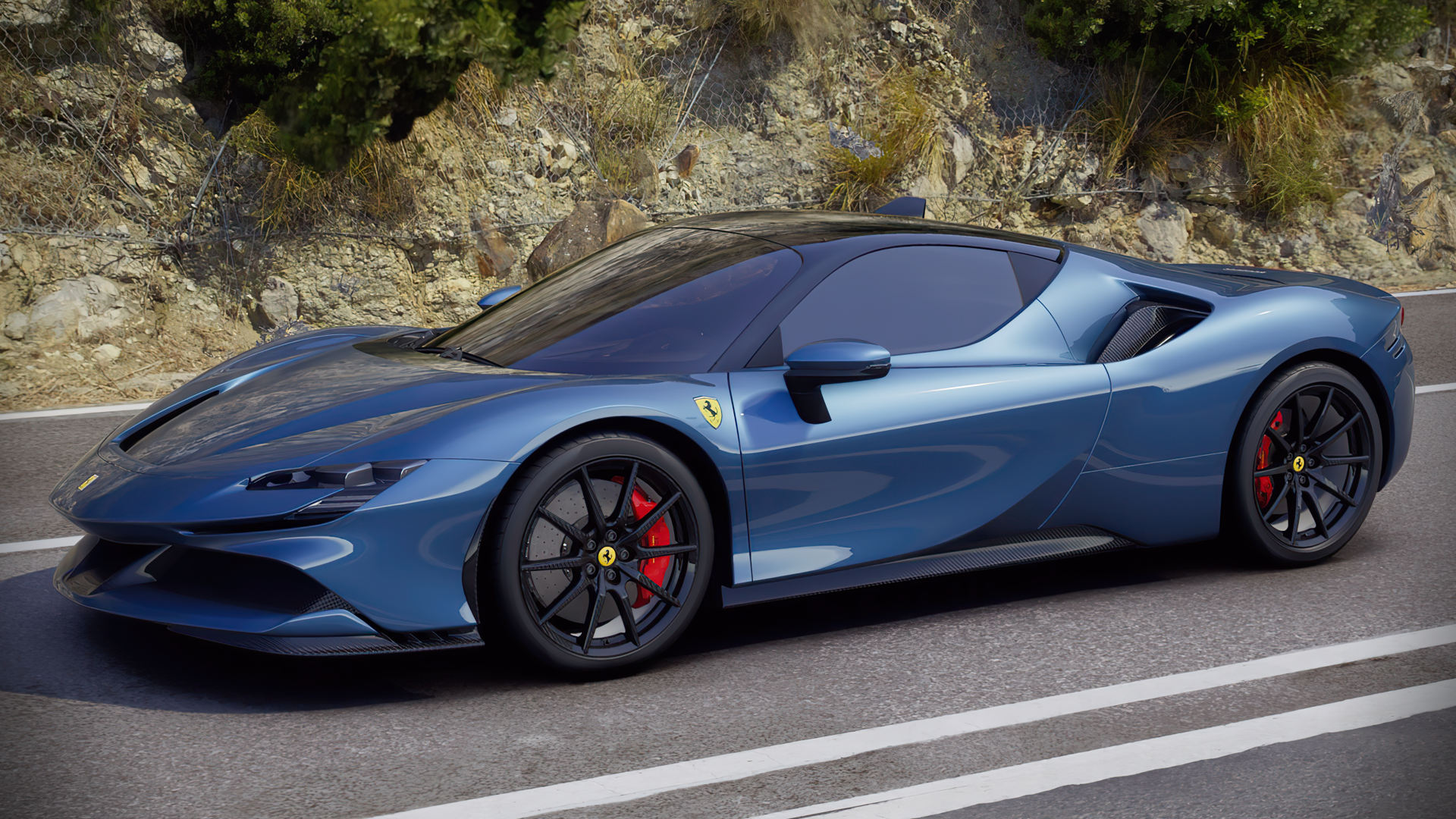 Ferrari Sf90 Stradale Blue Colour Wallpaper