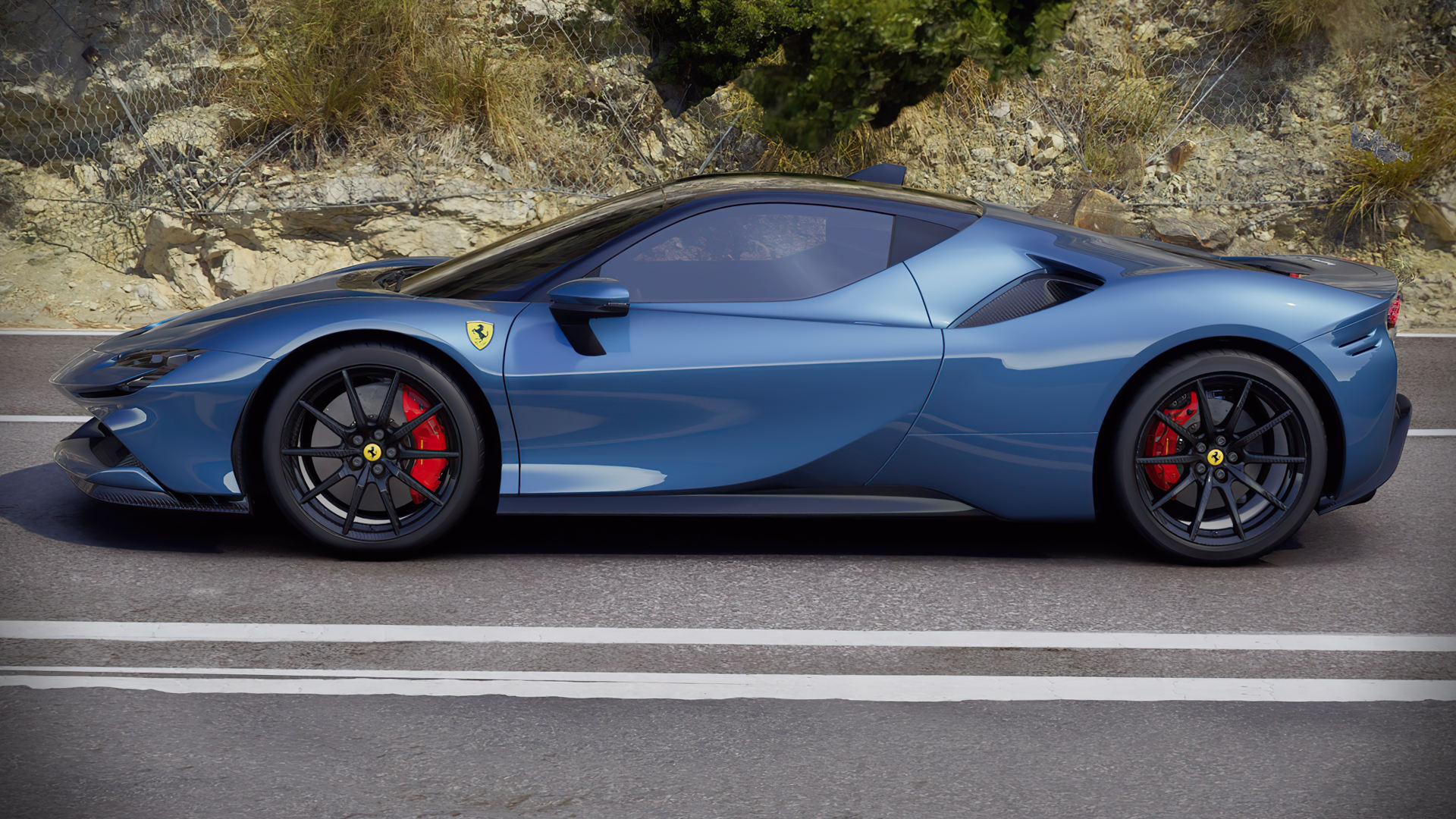 Ferrari 2020 Blue Car Hd Wallpaper