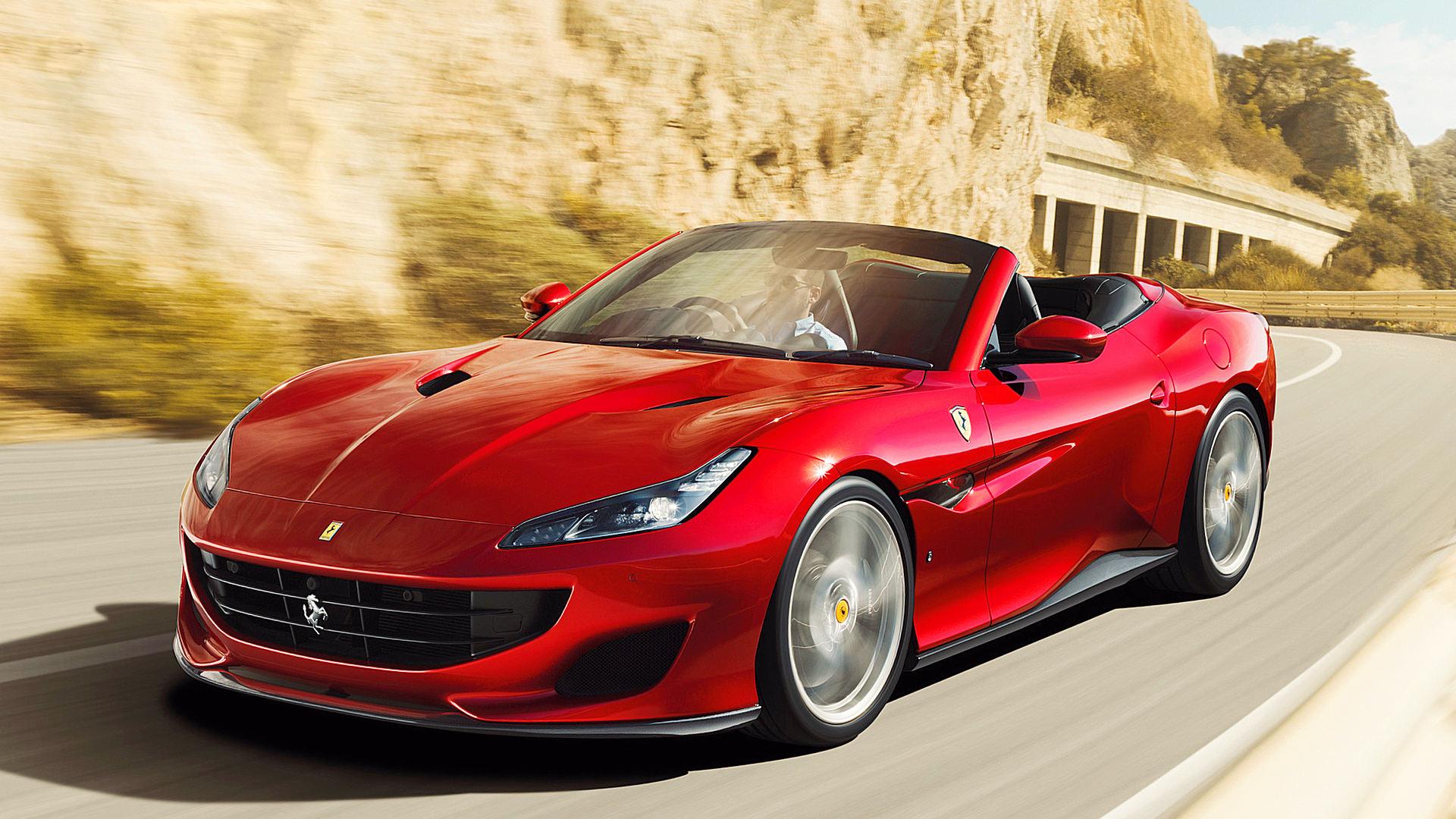 Ferrari Portofino 2019 Red Convertible Wallpaper