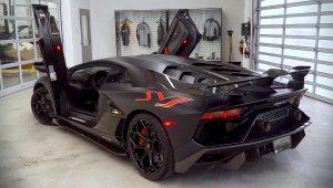 2019 Lamborghini Aventador SVJ Black Wallpaper